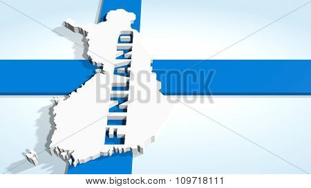 finland map on national flag