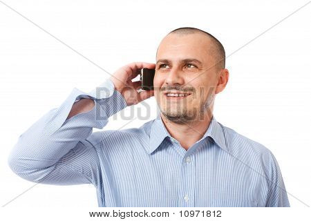 Friendly Businessman On Phone