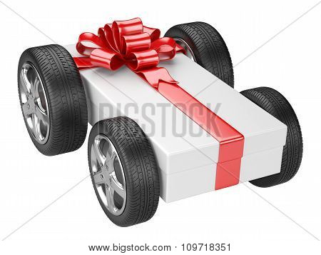 Gift Box And A Tyre Wheels