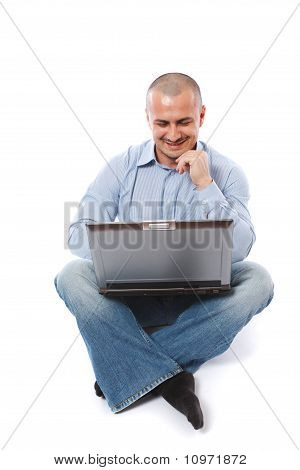 Casual Businessman With Laptop Isolated On White