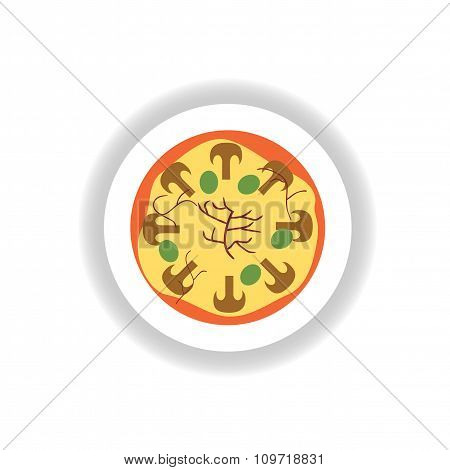 stylish paper sticker pizza with mushrooms and olives
