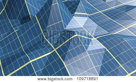 low polygonal landscape. Blueprint empty crumpled surface