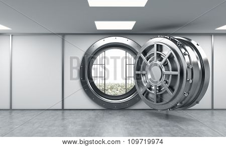 3D Rendering Of A Big Open Round Metal Safe In A Bank Depository With Lock-boxes And Money On The Fl