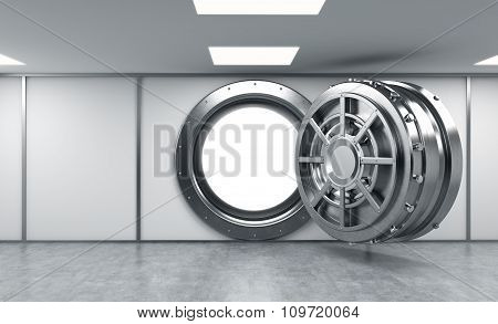 3D Rendering Of A Big Open Round Metal Safe In A Bank Depository With Bright Light Shining Inside, A