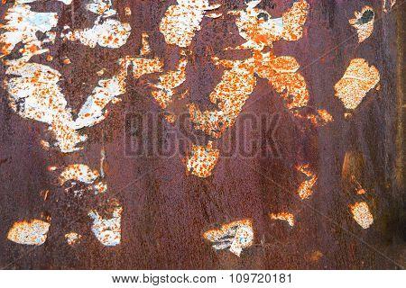 Rusty metal wih dirt. Rusty and battered metal