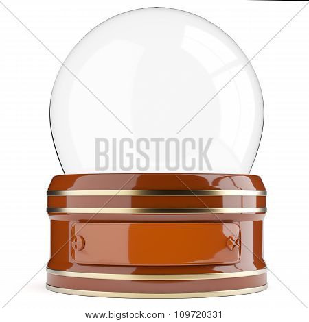 Empty Snow Globe Isolated On White Background