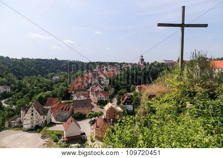 Village With Cross In Bavaria, Germany.
