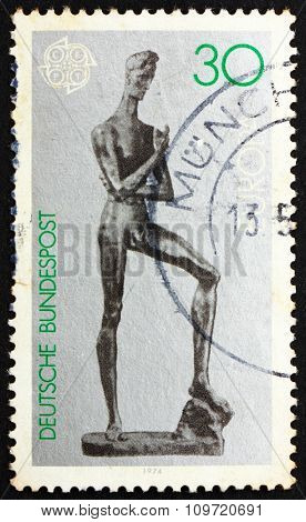Postage Stamp Germany 1974 Young Man, Sculpture By Lehmbruck