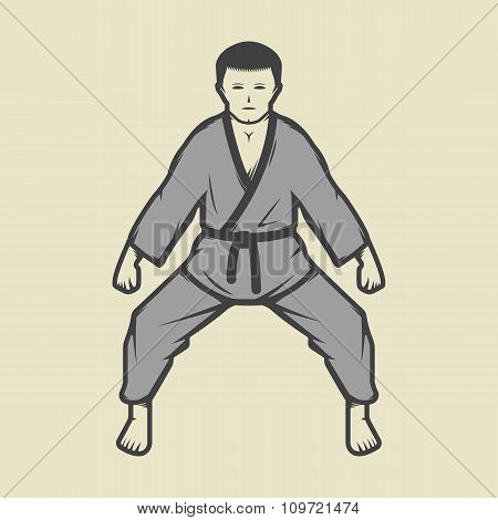 Vintage Karate Boy In Retro Style. Can Be Used For Logos, Emblems, Badges, Labels And Design Element