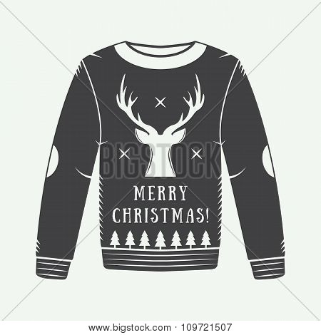 Vintage Christmas Winter Sweater With Deer, Trees, Stars And Design Elements In Retro Style.