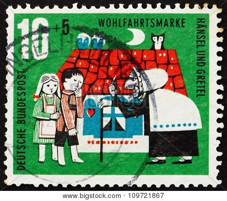 Postage Stamp Germany 1961 Hansel, Gretel And Witch, Scene From