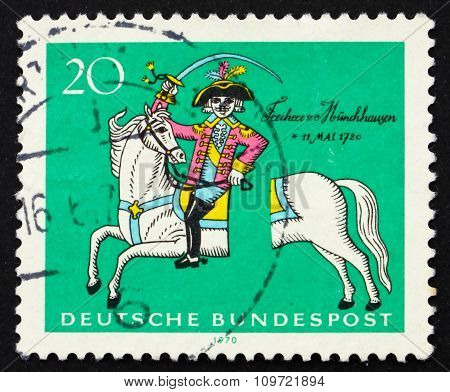 Postage Stamp Germany 1970 Munchhausen On His Severed Horse