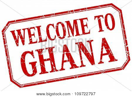 Ghana - Welcome Red Vintage Isolated Label