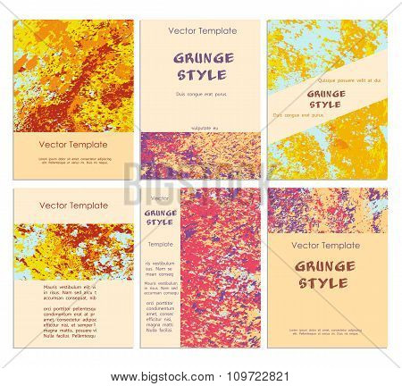 Grunge Vector Template Set.