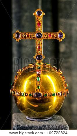 Antique Golden Orb With Precious Gems