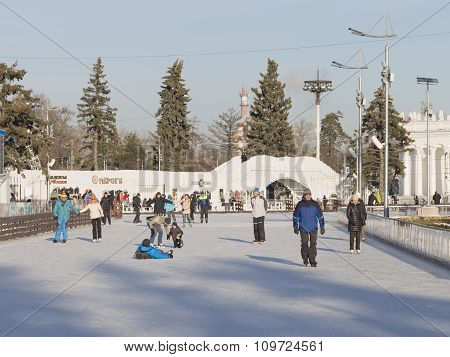 A Large Skating Rink In The Winter Moscow