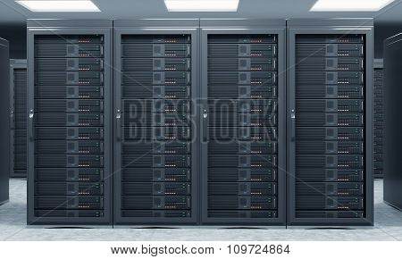3D Rendering Of Server For Data Storage, Processing And Analysis, Rows Of Machines At Work, Front Vi