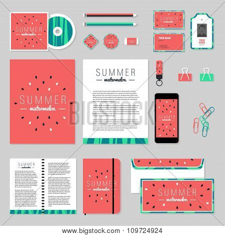 Vector Stationery Template Design With watermelon Elements.