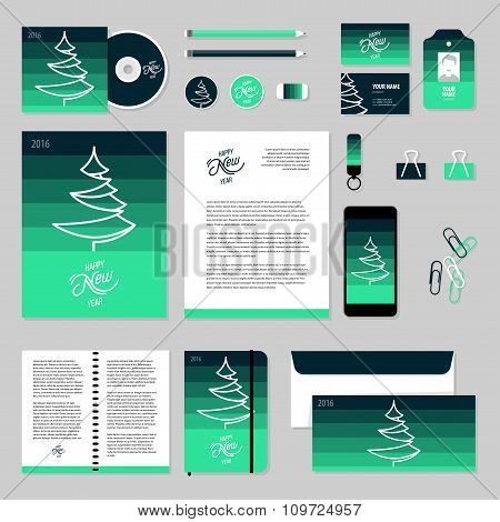 Vector Stationery Template Design With Christmas Tree, 2016