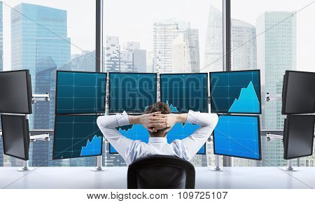 Man With Hands Locked On Back Of The Head Sitting In Front Of Monitors, Processing Data For Trading,