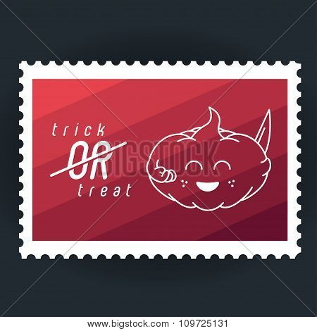 Illustration Halloween's Pumkin, Postage Stamp.