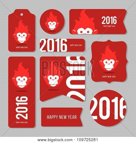 Collection Of New Year 2016 Cards with monkey