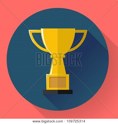 Champions gold cup - victory symbol. Flat style design