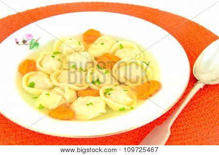 Delicious Food: Soup Dumplings and Carrot.