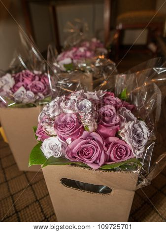 Pink Roses In Boxes