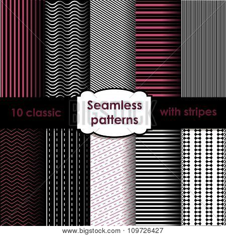 Set Of Classic Seamless Striped Patterns