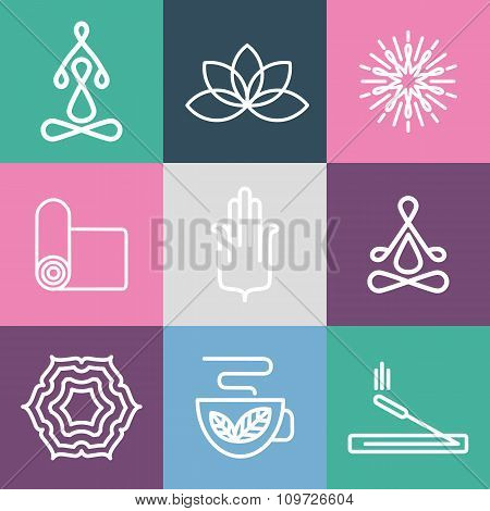 Yoga icons and line badges.