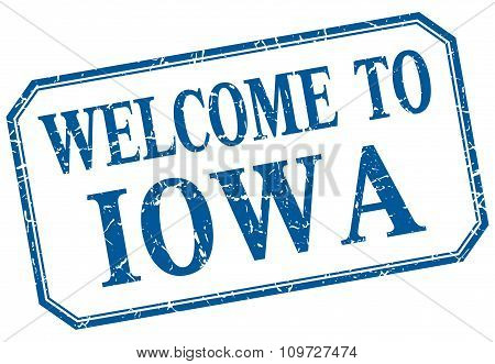 Iowa - Welcome Blue Vintage Isolated Label