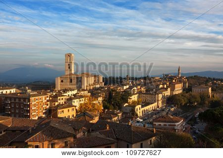 Panoramic view of Perugia - Italy, umbria