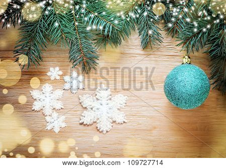 Christmas Background. Pine And Blue Ball.