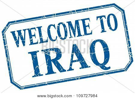 Iraq - Welcome Blue Vintage Isolated Label
