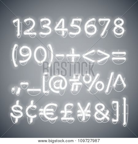 White Glowing Neon Numbers