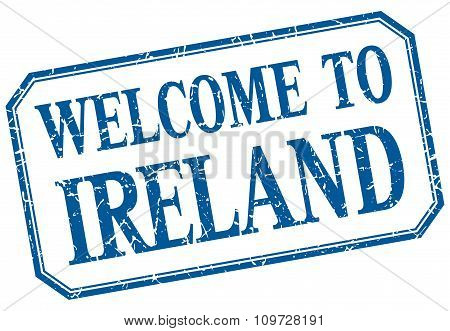 Ireland - Welcome Blue Vintage Isolated Label