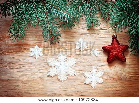 Christmas Background. Pine And Red Star.