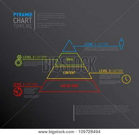 Vector Infographic Pyramid chart diagram template with icons, made by thin line - dark version