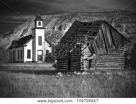 Old Emery Meeting House And Settler Cabin In Black And White