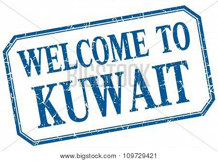 Kuwait - Welcome Blue Vintage Isolated Label