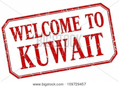 Kuwait - Welcome Red Vintage Isolated Label