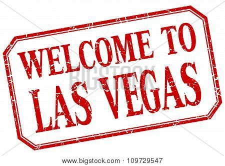 Las Vegas - Welcome Red Vintage Isolated Label