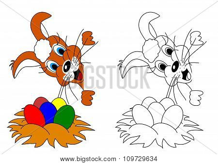 Easter Bunny As A Coloring For Kids