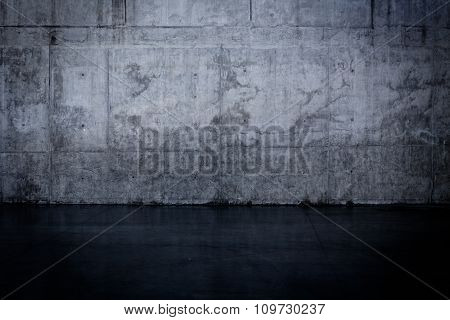 Grungy Dark Concrete Wall And Wet Floor