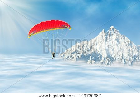 Freestyle Solo Paragliding Over Clouds Against Mountain Peak