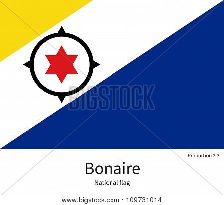 National flag of Bonaire with correct proportions, element, colors
