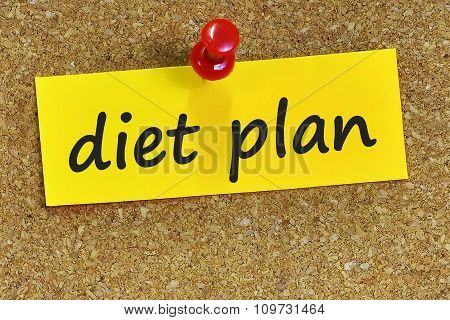 Diet Plan Word On Yellow Notepaper With Cork Background