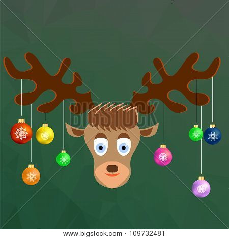 Cute Cartoon Deer with Colorful Glass Balls