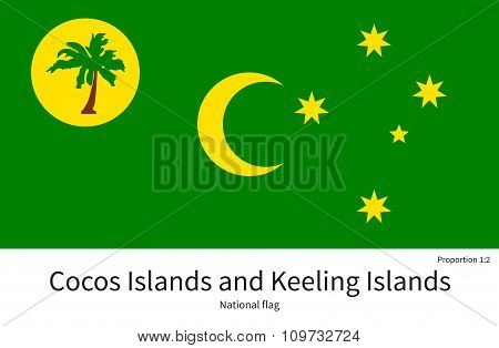 National flag of Cocos and Keeling Islands with correct proportions, element, colors